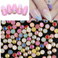 4MM 200Pcs 3D Nail Art Alloy Decor Bling Rhinestone Pearl Charm Glitter Tips DIY