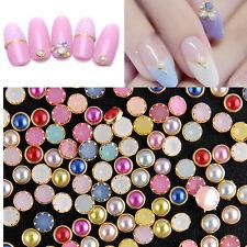 4MM 200Pcs 3D Nail Art Alloy Decor Bling Rhinestone Pearl Charm Glitter Tips L7