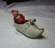 Santa Elf Fishing in Dutch Shoe Christmas Ornament France Rare c1910 Holiday
