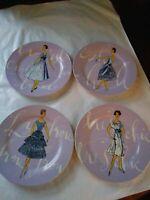 Rosanna Dessert/Luncheon Plates French Fashion Model Purple Lavender Lilac Set/4