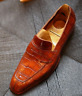 Handmade Men's Tan Square Toe Crocodile Texture Leather Moccasin Dress Shoes