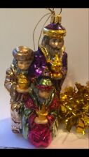 Three Wise Men Kings Czech Christmas Glass Tree Bauble Decoration Gold Purple