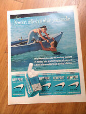 1961 Newport Cigarette Ad Couple Boating Swimming Fun