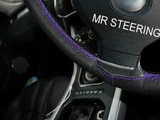 FOR FORD MONDEO II 96-00 BLACK LEATHER STEERING WHEEL COVER PURPLE DOUBLE STITCH