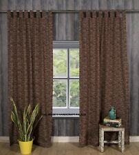 Unique Handmade Cotton Tab Top Curtain Drape Panel Brown Geometric Curtains Set