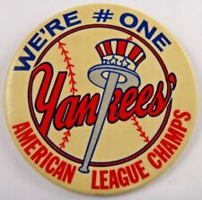 "1970's NY Yankees American League Champs Large Original Stadium 3.5"" Pin Button"