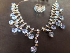 Collar De Strass, Azul Azul, anillo y pendiente conjunto con piedras de cristal de plomo de pedernal.