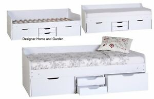 Single Childrens Bed Cabin Bed Furniture Kids Room White Daybed Drawers Storage