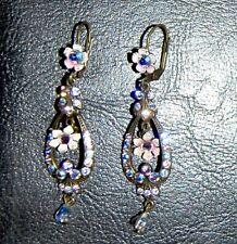 Michal Negrin Swarovski Crystal Elements Long Chandelier Flower Earrings