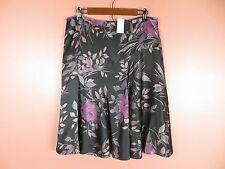SK09611- NWT ANN TAYLOR Woman Silk Paneled Flared Skirt Multi-Color Floral 12