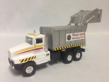 "City Garbage Waste Disposal Truck 6.25"" Diecast Pull Back To Go Toy White"