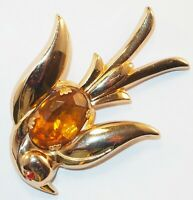 Vintage Signed Pegasus Coro Figural Citrine &Red Rhinestone Bird Brooch Pin