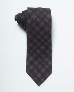 "Isaia Napoli NWT Purple Brown Plaid Check 100% Wool Tie 3"""