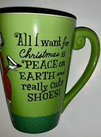Hallmark All I Want For Christmas Is Really Cute Shoes Mug Green 14 Ounces