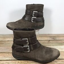 ECCO Brown Leather Flat Ankle Boots Booties Size US 7-7.5/ EUR 38