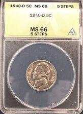 1940-D JEFFERSON NICKEL MS66 5 STEPS ANACS (X377)