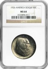 :1926 S50C America-Sesquicent Commemorative-Half-Dollar NGC MS-64 Highest-Grades