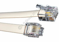 10m RJ11 To RJ11 Cable Lead 4 Pin ADSL BROADBAND Router Modem Phone 6p4c WHITE