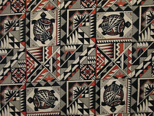 Navajo Indian Totem Turtle Orange Black Cotton Fabric BTHY