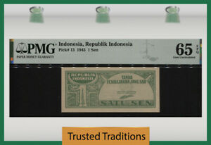 TT PK 13 1945 INDONESIA REPUBLIK INDONESIA 1 SEN PMG 65 EPQ WWII ERA BANKNOTE!