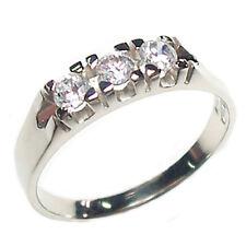 Anello fedina trilogy donna in oro bianco con diamanti naturali taglio brillante