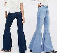 Fashion Womens Denim Flare Bell Bottom Pants High Waist Bootcut Jeans Trousers