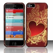 For iPhone 5 5S SE Rubberized HARD Case Snap On Phone Cover Golden Red Heart
