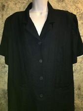 JM COLLECTION short sleeve button down jacket/shirt front pockets navy plus 3X