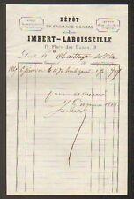 """LIMOGES (87) EAUX-DE-VIE HUILE Dépot FROMAGE CANTAL """"IMBERT & LABOISSEILLE"""" 1862"""
