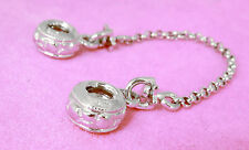 SOLID 925 STERLING SILVER SAFETY CHAIN For European Bead Charm Bracelet