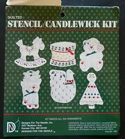 Quilted Stencil Candlewick Kit Makes 6 Ornaments 1983 Missing Floss Paints