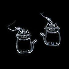 .925 Sterling Silver Cute Kitty Cat French Hook Earrings