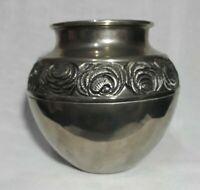 vintage silver plated floral Potbelly vase bud flower