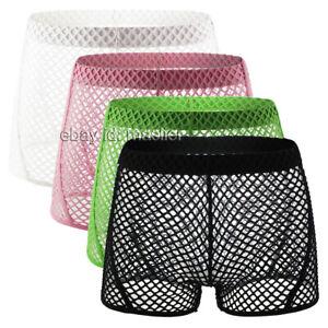 Men's Reticulation Blend Trunks Interesting Fishing net Shorts Pouch Underwear