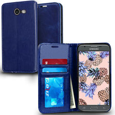 BLUE BOOK-STYLE FOLIO CASE W/CARD SLOT COVER FOR SAMSUNG GALAXY J3 EMERGE J327