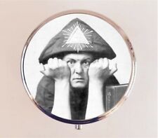 Aleister Crowley Pill Box Pillbox Case Holder Stash Box - Occult Portrait Magick