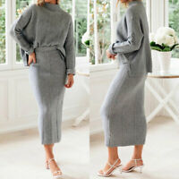 Elegant Women Turtleneck Knit Suit Solid Sweater and Skirt 2Pcs Sets Outfits