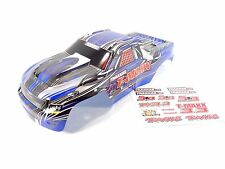 NEW TRAXXAS T-MAXX 3.3 4907 EXTENDED CHASSIS BLUE BODY WITH DECAL SHEET