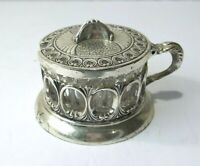 Vintage Brevettato Italy Ornate Silver Plate Lidded Sugar Jelly Jar Glass Insert