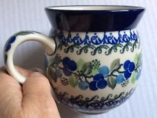 New C.A. Polish Pottery 16 oz Bubble Mug-Blue Berries Pattern