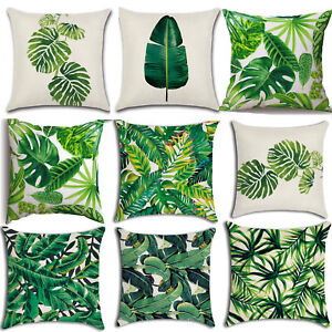 "Tropical Leaf Printed Throw Cushion Cover 18"" Square Pillow Case Sofa Home Decor"