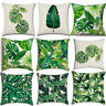 Cushion Covers Tropical Leaves Printed Cotton Linen Throw Pillow Case 18''x 18''