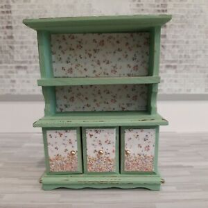 Dollhouse  1:12 Wood Distressed Green Cupboard With Floral Background
