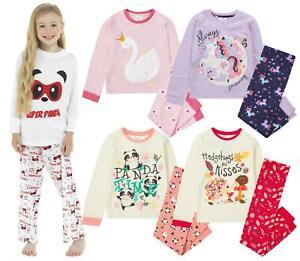Girls Long Pyjamas Kids Childrens Cotton Jersey Sleep Pyjama Set Nightwear PJs