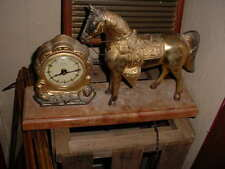 VINTAGE BRASS UNITED HORSE MANTLE CLOCK ELEC. WIRE MISSING NICE LOOKING FR. SHIP