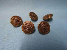 FIVE VINTAGE METAL GOLD COLOR MILITARY UNIFORM BUTTONS
