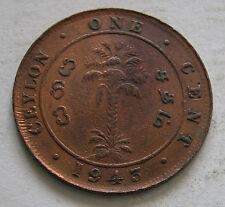 CEYLON - SRI LANKA - BRONZE 1 CENT 1943 - KM # 111A