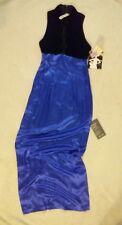 Zum Zum FORMAL DRESS BLACK COBALT BLUE Womens SIZE 3-4 Floor PROM Crushed Velvet