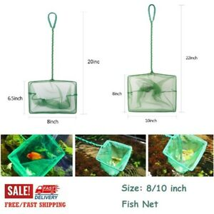Aquarium Rugged Square Fishing Net Tank Catching Dush Cleaning Mesh Tools 8/10in
