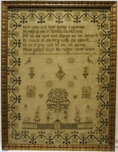 EARLY 19TH CENTURY ADAM & EVE, MOTIF & VERSE SAMPLER BY JANE GOMAN PROUSE - 1836